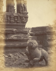 Sculpture of Sinha, or lion, in court of Durga Temple, Aihole, Bijapur District
